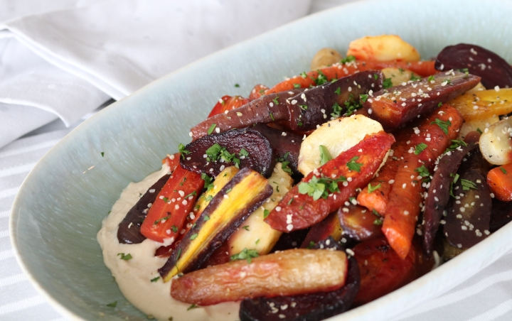 Roasted Root Veggies with Tahini dressing