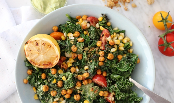 Grilled Kale Salad with Avocado Dressing